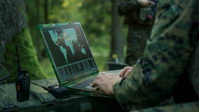 Military laptop hands typing