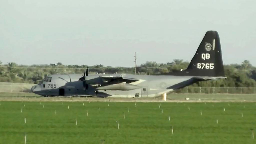 A KC-130J tanker is seen after it made an emergency landing after colliding with an F-35B fighter jet during a refueling operation over the Southern California desert near Thermal on Sept. 29, 2020.