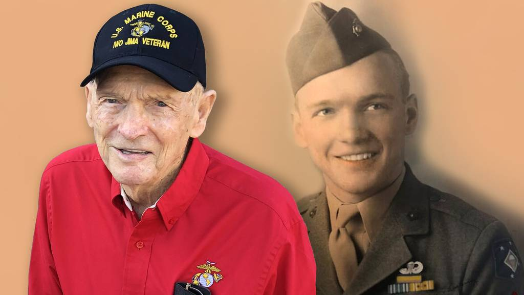 T. Fred Harvey, a WWII veteran who was wounded and earned the Silver Star during the Battle of Iwo Jima is looking to become the oldest Marine to participate in the Marine Corps Marathon. (Photo illustration by Jared Morgan, staff)