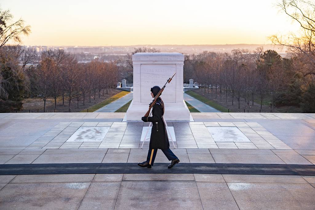 Tomb Sentinel Walks the Mat at the Tomb of the Unknown Soldier