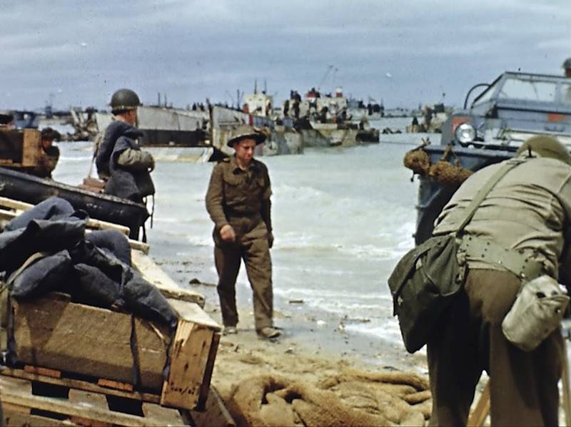 Landing craft on the beach during D-Day