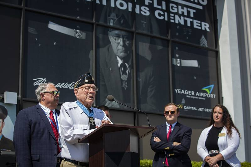 """Hershel """"Woody"""" Williams speaks during a hangar dedication ceremony at the Capital Jet Center in Charleston, W.Va., July 26, 2019."""